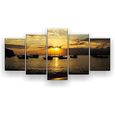 Quadro Decorativo Praia Barcos Pôr Do Sol 129x61 5pc Sala