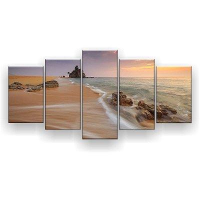 Quadro Decorativo Praia Pedras Natureza 129x61 5pc Sala
