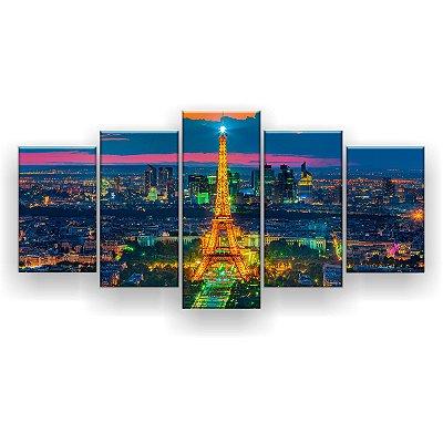 Quadro Decorativo Paris Iluminada 129x61 5pc Sala