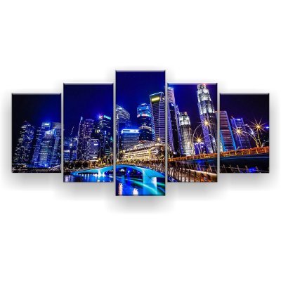 Quadro Decorativo Singapura City 129x61 5pc Sala