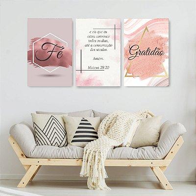 Quadro Decorativo Fé Gratidão Rose 3P Sem Moldura 115x57 Sala Quarto