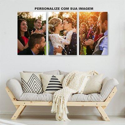 Quadro Decorativo Personalizado 3P Sem Moldura 115x57 Sala Quarto