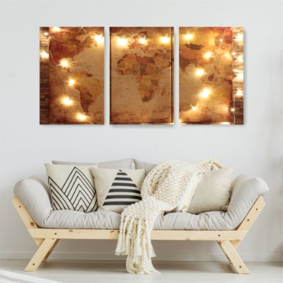 Quadro Decorativo Mundi Luzes  3P Sem Moldura 115x57 Sala Quarto