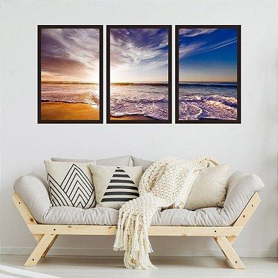 Quadro Decorativo Pôr Do Sol Azul Praia 3P 124x60 Sala Quarto