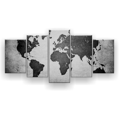 Quadro Decorativo Mapa Mundi Preto Branco 129x61 Quarto Sala