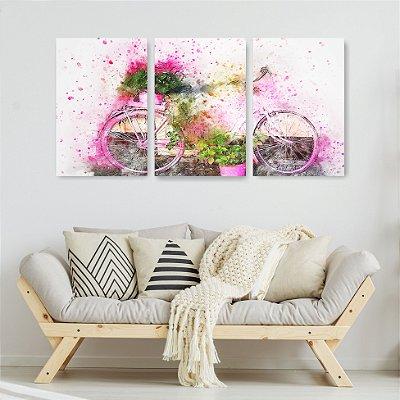 Quadro Decorativo Bicicleta Com Flores Rosa 3P Sem Moldura 115x57 Sala Quarto