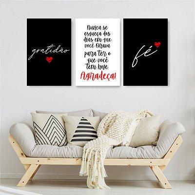 Quadro Decorativo Gratidão Agradeça Fé 3P Sem Moldura 115x57 Sala Quarto