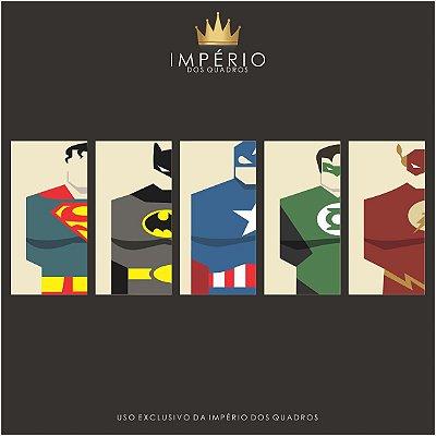 Quadro Decorativo Quinteto Heróis 129x61 5pc Sala