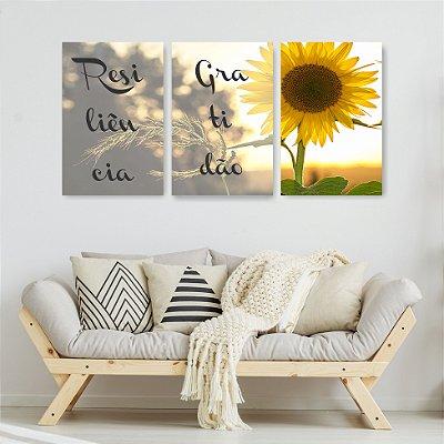 Quadro Decorativo Resiliência Gratidão 3P Sem Moldura 115x57 Sala Quarto