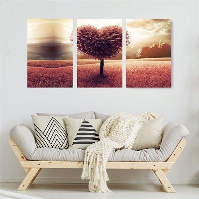 Quadro Decorativo Árvore Coração 3P Sem Moldura 115x57 Sala Quarto