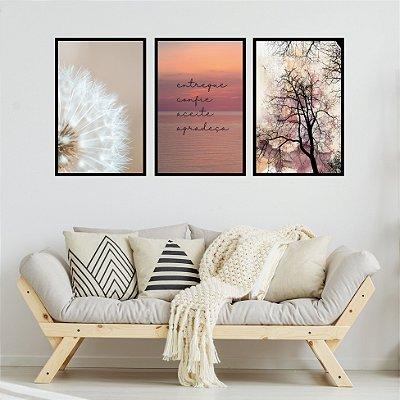 Quadro Decorativo Entregue Confie Aceite Agradeça 3P Sem Moldura 115x57 Sala Quarto