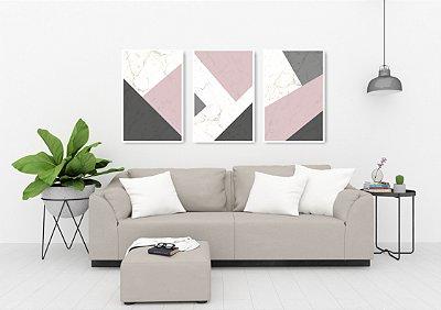 Quadro Decorativo Cimento Rose 115x57 Sala Quarto