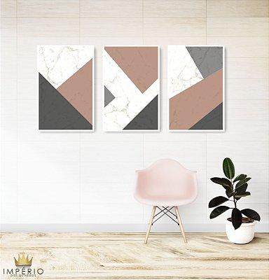Quadro Decorativo Cimento Rosa 115x57 Sala Quarto