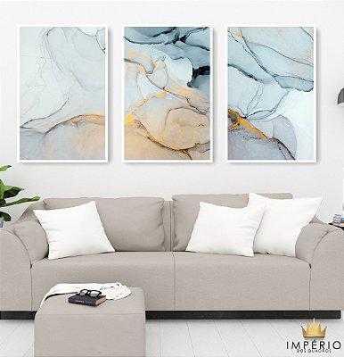 Quadro Decorativo Pedras Azuis 115x57 Sala Quarto