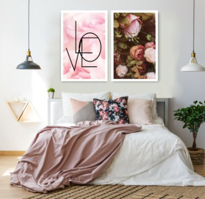 Quadro Decorativo Love Rosas 76x57 Sala Quarto