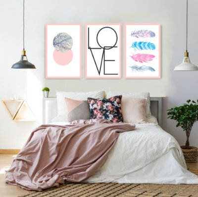 Quadro Decorativo Love Penas 115x57 Sala Quarto