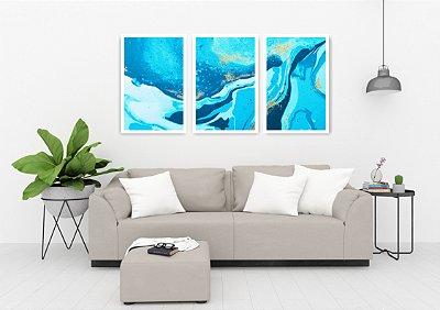 Quadro Decorativo Abstrato Azul 115x57 Sala Quarto