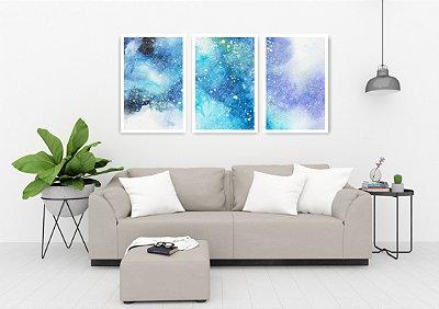 Quadro Decorativo Universo Azul 115x57 Sala Quarto
