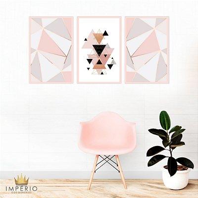 Quadro Decorativo Triângulos Rose 115x57 Sala Quarto