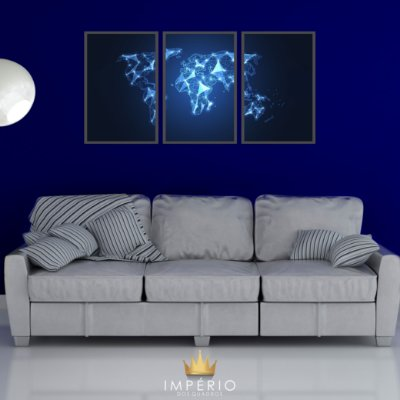 Quadro Decorativo Mapa Azul 115x57 Sala Quarto