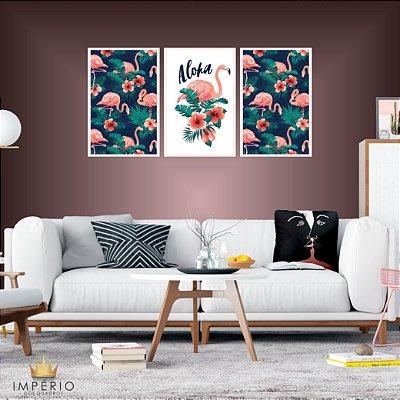 Quadro Decorativo Aloha Flamingos 115x57 Sala Quarto
