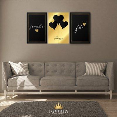 Quadro Decorativo Família Amor Fé Gold 115x57 Sala Quarto