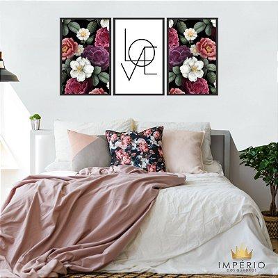Quadro Decorativo Love Flores 115x57 Sala Quarto