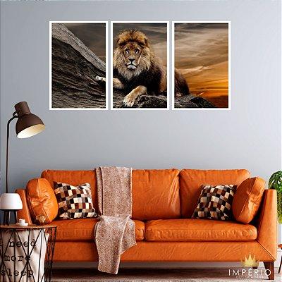 Quadro Decorativo Grande Leão 115x57 Sala Quarto