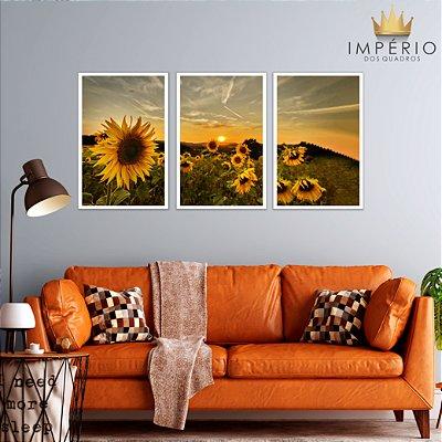 Quadro Decorativo Girassóis Pôr Do Sol 115x57 Sala Quarto
