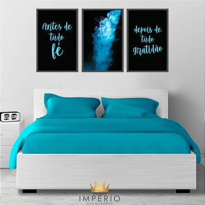 Quadro Decorativo Antes De Tudo Fumaça Azul 115x57 Sala Quarto