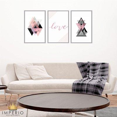Quadro Decorativo Love Triângulos 115x57 Sala Quarto