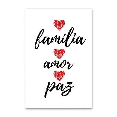 Quadro Decorativo Família - Amor e Paz 20x30
