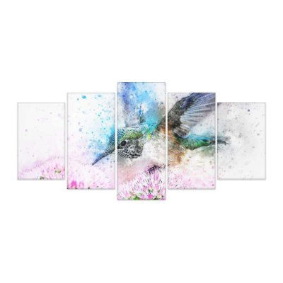 Quadro Decorativo Beija Flor Mosaico 129x61 5pc