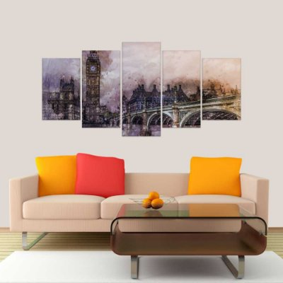 Quadro Decorativo Abstrato Londres Mosaico 129x61 5pc