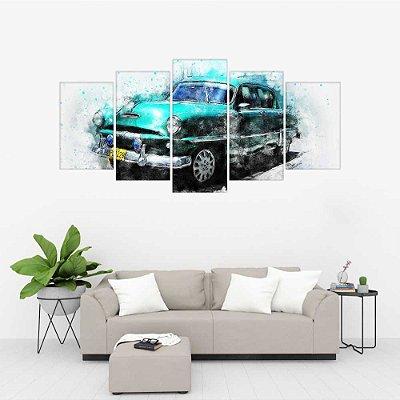 Quadro Decorativo Carro Antigo Mosaico 129x61 5pc