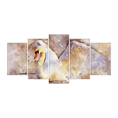 Quadro Decorativo Cisne Mosaico 129x61 5pc