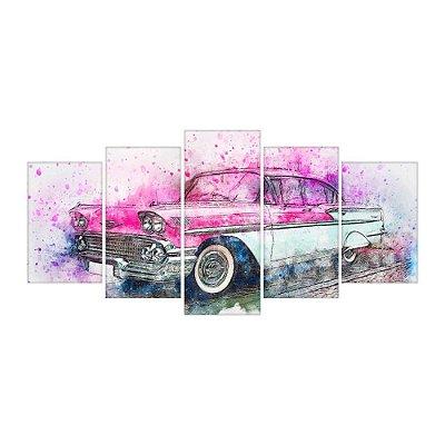 Quadro Decorativo Carro Antigo 09 Mosaico 129x61 5pc