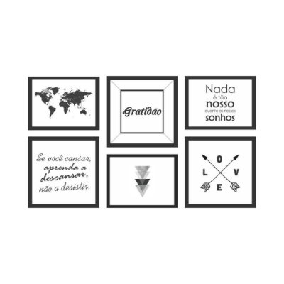 Quadro Decorativo Frases 04 Composição 64x37 6pc