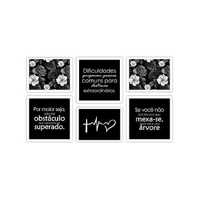 Quadro Decorativo Frases 05 Composição 64x37 6pc