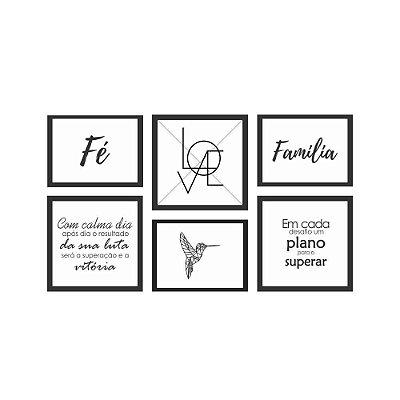 Quadro Decorativo Frases 07 Composição 64x37 6pc