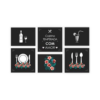 Quadro Decorativo Cozinha 01 Composição 64x37 6pc