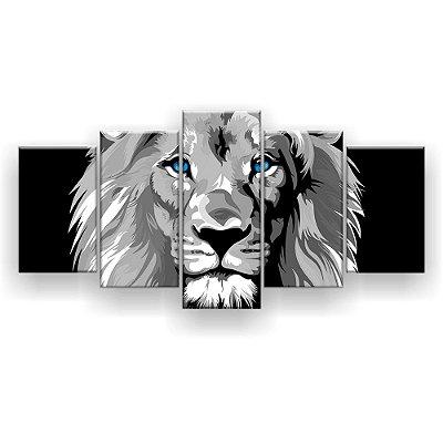Quadro Decorativo Leão Olhos Azuis Hd 129x61
