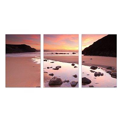Quadro Decorativo Paisagem Praia  3P Sem Moldura 115x57