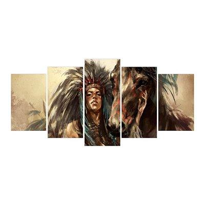 Quadro Decorativo Índia com Cavalo 129x61 5pc Sala