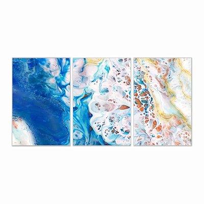 Quadro Decorativo Abstrato Oriental 3P Sem Moldura 115x57