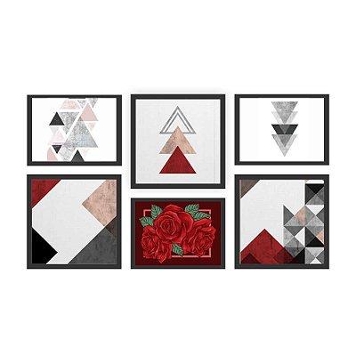 Quadro Decorativo Rosas Composição 64x37 6pc