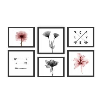 Quadro Decorativo Flores 01 Composição 64x37 6pc
