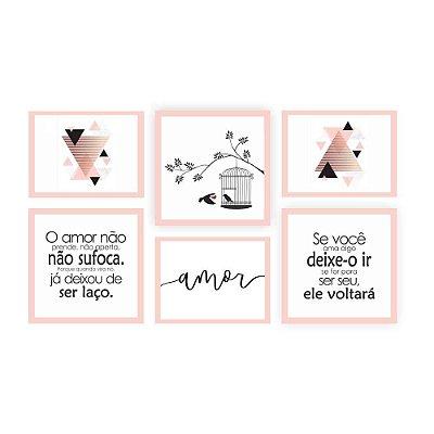 Quadro Decorativo Amor Não Sufoca Composição 64x37 6pc
