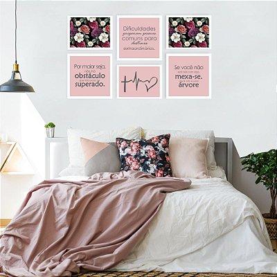 Quadro Decorativo Frase e Flores Composição 64x37 6pc