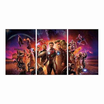 Quadro Decorativo Vingadores 3P 115x57